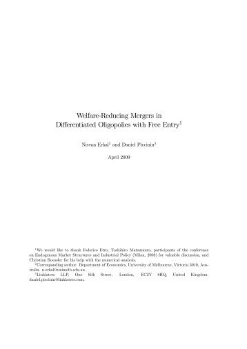 Welfare-Reducing Mergers in Differentiated Oligopolies ... - Intertic