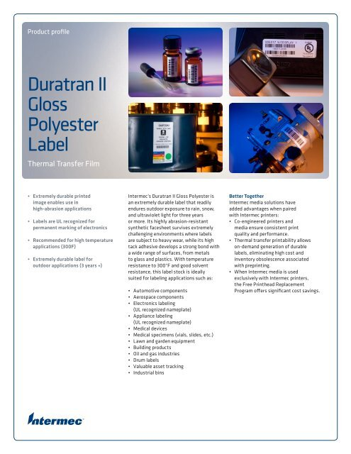 Duratran II Gloss Polyester Label - Intermec