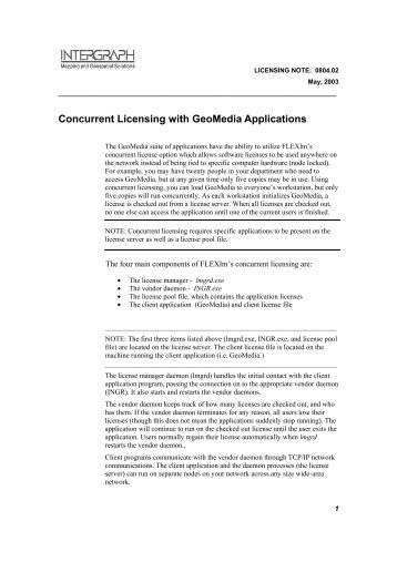 Concurrent Licensing with GeoMedia Applications - Intergraph