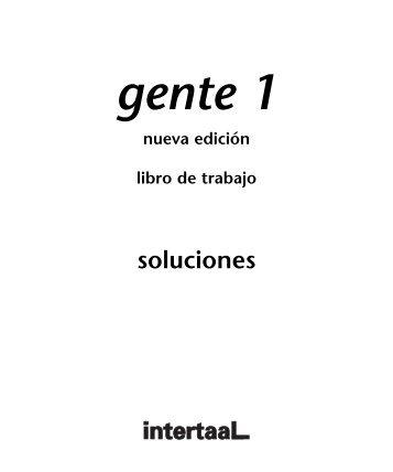 Gente 1 - nueva edición libro de trabajo Soluciones - Intertaal