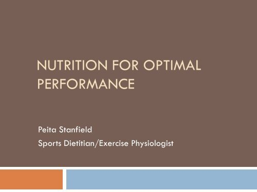 nutrition for optimal performance - Intraining
