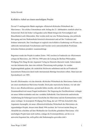 Kollektive Arbeit an einem unerledigten Projekt - Berliner Institut für ...