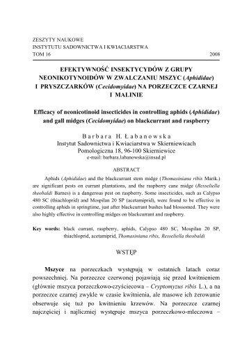 (Aphididae) I PRYSZCZARKÓW (Cecidomyidae) - Instytut ...
