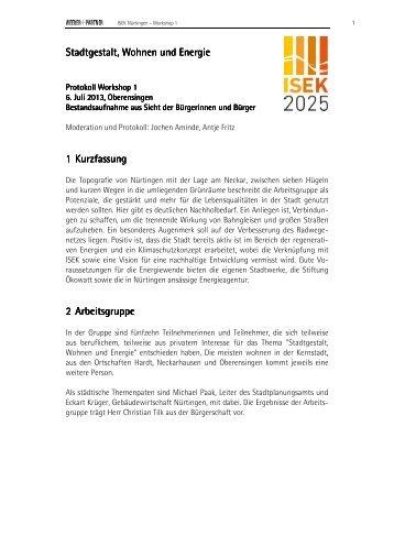 Protokoll aus der 1. Workshoprunde - Stadt Nürtingen