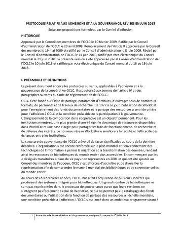 Protocoles relatifs aux adhésions et à la gouvernance - OCLC