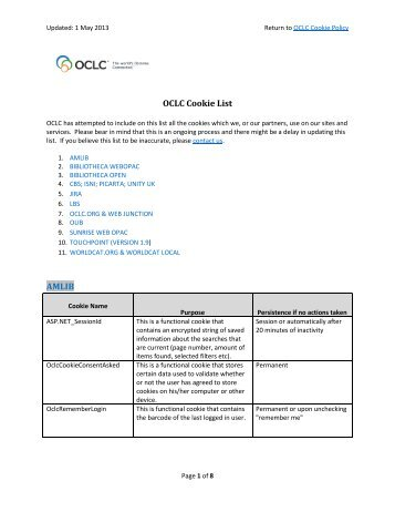 Download the OCLC Cookie List