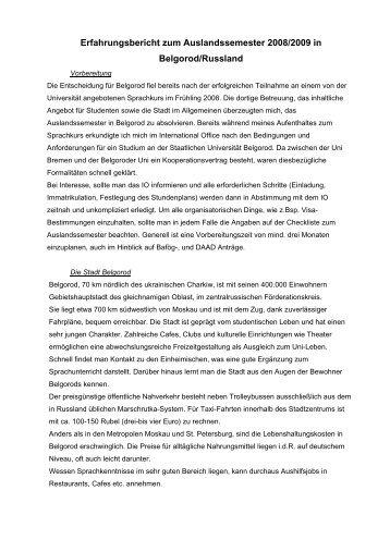Erfahrungsbericht zum Auslandssemester 2008/2009 in Belgorod ...
