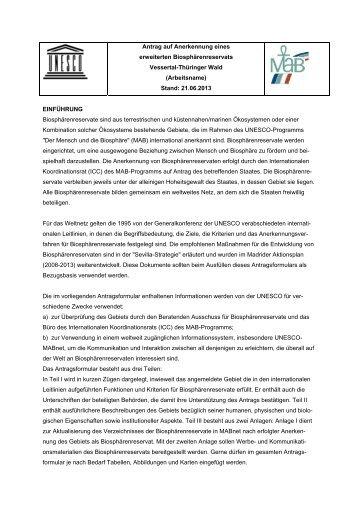 UNESCO-Anerkennungsantrages - Biosphärenreservat Vessertal ...