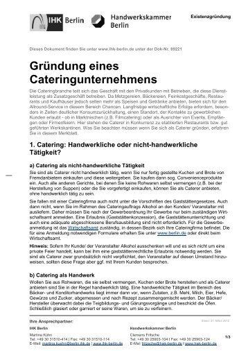 Gründung eines Cateringunternehmens - IHK Berlin