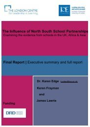 North South School Partnerships - Institute of Education, University ...