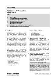 Geschenke Mandanten-Information - Steuerberater Hitzer & Hitzer