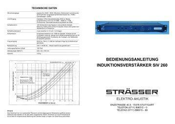 Bedienungsanleitung für Induktionsverstärker SIV260 - Straesser.de