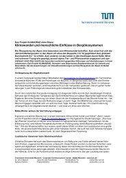 Klimawandel und menschliche Einflüsse in Bergökosystemen - TUM