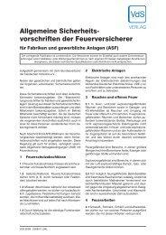 Allgemeine Sicherheitsvorschriften der Feuerversicherer für ... - VdS