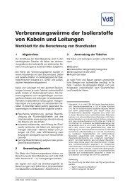 Verbrennungswärme der Isolierstoffe von Kabeln und Leitungen - VdS