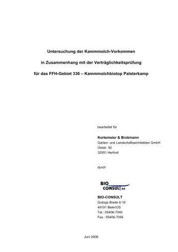 Untersuchung der Kammmolch-Vorkommen in Zusammenhang mit ...