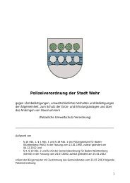 Polizeiverordnung der Stadt Wehr