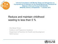 Reduce and maintain childhood wasting to less than 5 %