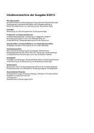Inhaltsverzeichnis der Ausgabe 8/2013: