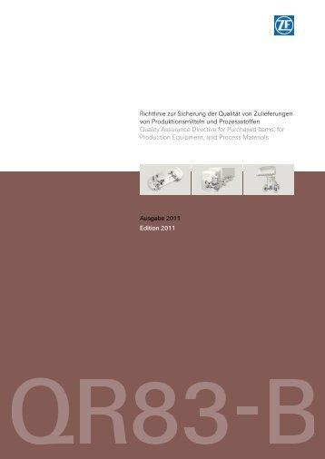 Richtlinie zur Sicherung der Qualität von Zulieferungen von ...