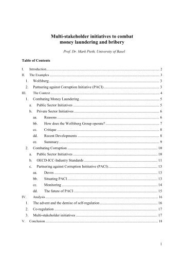 Multi-stakeholder initiatives to combat money laundering and bribery