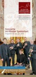 Konzerte 2014 - 1. Auflage - Kloster Speinshart