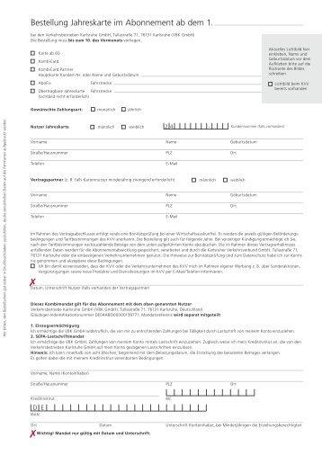 Bestellung Jahreskarte im Abonnement ab dem 1. - KVV ...