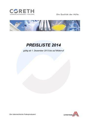 Preisliste 2014 zum Download - Coreth