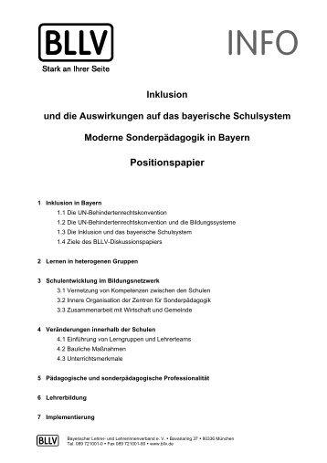 Inklusion und die Auswirkungen auf das bayerische ... - BLLV