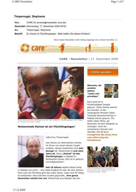 CARE-eNews vom 17. Dezember 2009 - CARE Deutschland e.V.