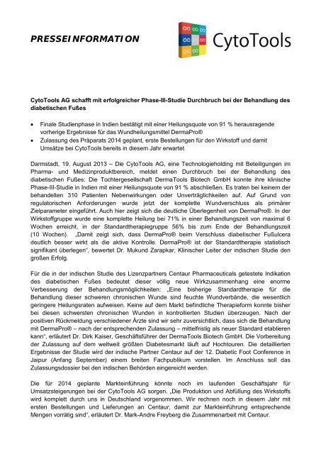 CytoTools stockt Beteiligung an der DermaTools ... - CytoTools AG