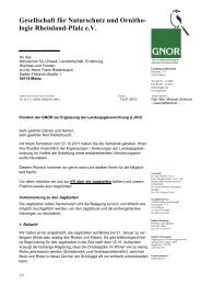 Ergänzung der Landesjagdverordnung - Gnor