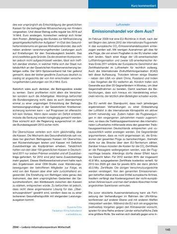 Luftverkehr: Emissionshandel vor dem Aus? - HWWI