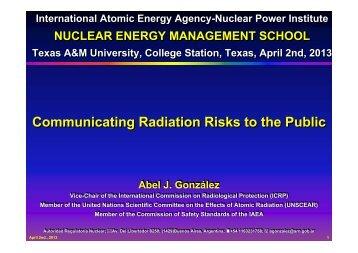 Communicating Radiation Risks to the Public - International Atomic ...