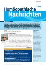 Homöopathische Nachrichten - Verlag Peter Irl