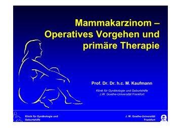 Mammakarzinom – Operatives Vorgehen und primäre Therapie