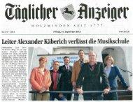 Leiter Alexander Käberich verlässt die Musikschule | 21.09.12
