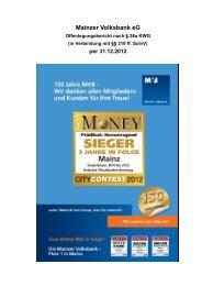 für das Jahr 2012 - Mainzer Volksbank eG