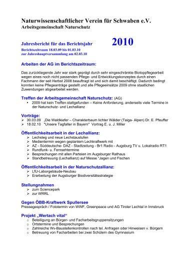 Jahresbericht 2009 - Naturwissenschaftlicher Verein für Schwaben