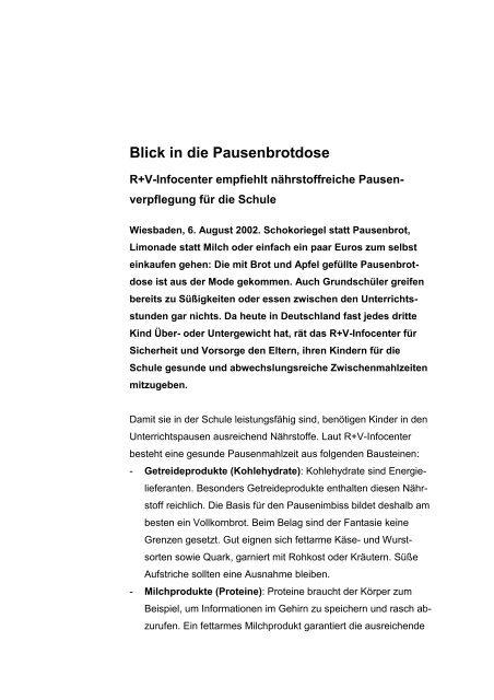 """Pressedienst """"Schule"""" - R+V Versicherung"""
