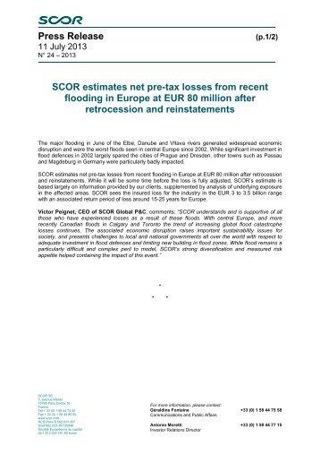 Press Release SCOR estimates net pre-tax losses from recent ...