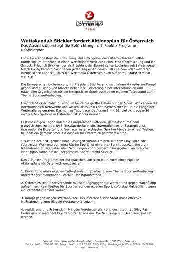 Wettskandal: Stickler fordert Aktionsplan für Österreich