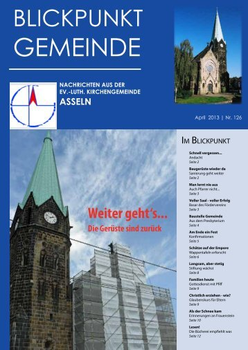 finden Sie den neuen Blickpunkt Gemeinde (Nr. 126 - April 2013)...