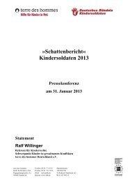 Schattenbericht« Kindersoldaten 2013 - Terre des Hommes
