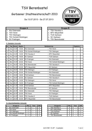 Spielplan - TSV - Berenbostel