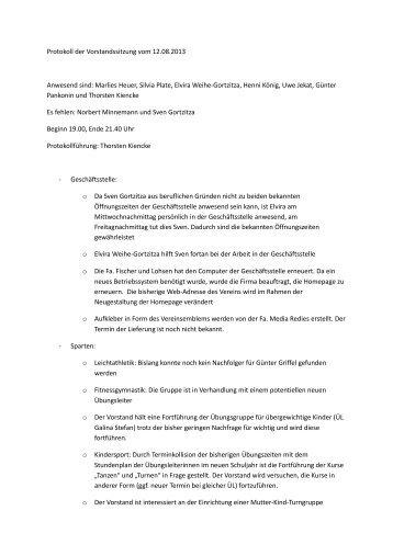 Protokoll der Vorstandssitzung vom 12.08.2013 ... - TSV Bederkesa