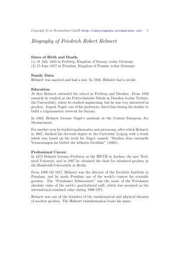 Biography of Friedrich Robert Helmert