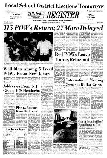 115 POWs Return: 27More Delayed - Red Bank Register Archive
