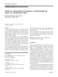 Family size and perinatal circumstances, as mental health risk ...