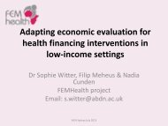 Adapting economic evaluation for health financing interventions in ...